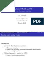 Capm, Factor Models and Apt Printout