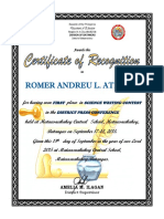 Certificate of Recognition PRESSCON