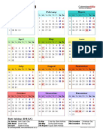 Calendar 2018 Portrait Year at a Glance in Colour