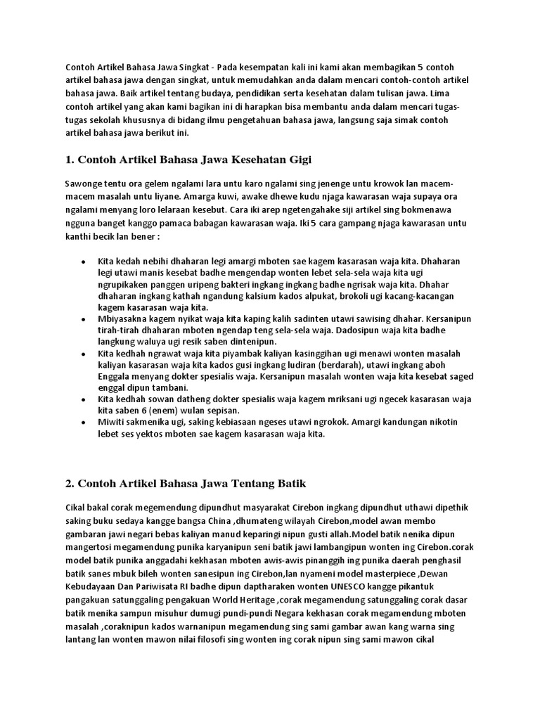 Contoh Artikel Bahasa Jawa Singkat