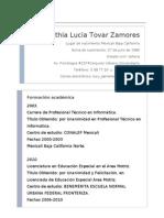 Curriculum Cynthia Lucia Tovar Zamores