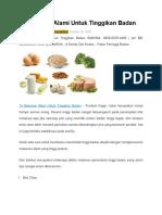 Wow 15 Makanan Alami Untuk Tinggikan Badan dan sangat menyehatkan