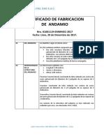 Certificado de Fabricacion de Un Andamio