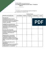 Rúbrica Para Evaluar Presentación Oral de B. Molecular