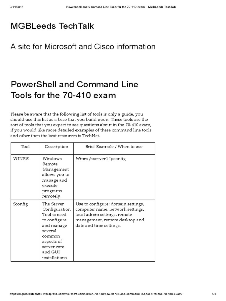 PowerShell and Command Line Tools for the 70-410 Exam