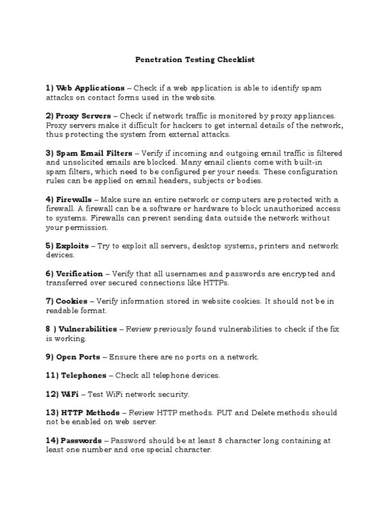 Penetration Testing Checklist | Firewall (Computing) | Proxy