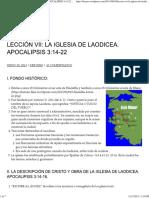 Lección Vii_ La Iglesia de Laodicea