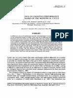 Sem Diferenças Na Performance Cognitiva Entre as Fases Do Ciclo Mesntrual