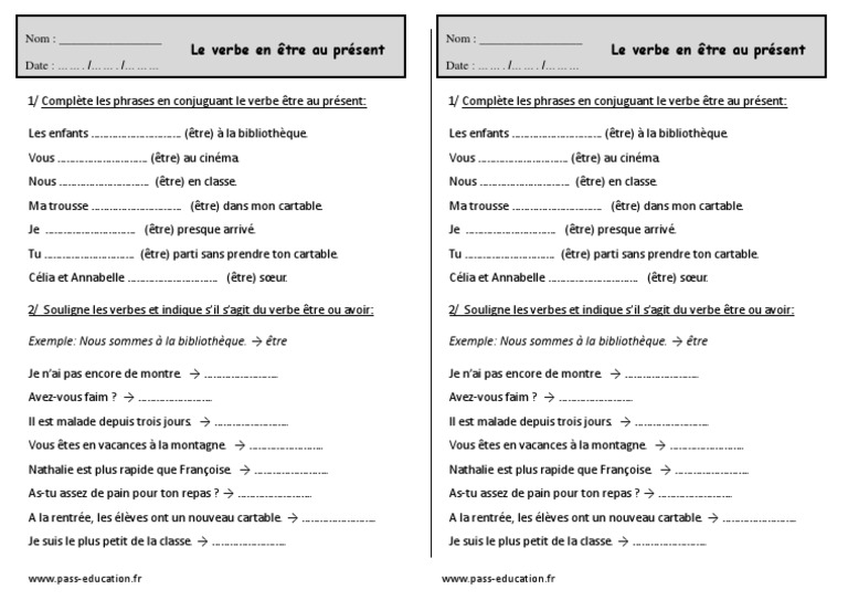 Conjuguer Le Verbe Être Au Présent Ce1 Exercices | Mécanique du langage | Règles