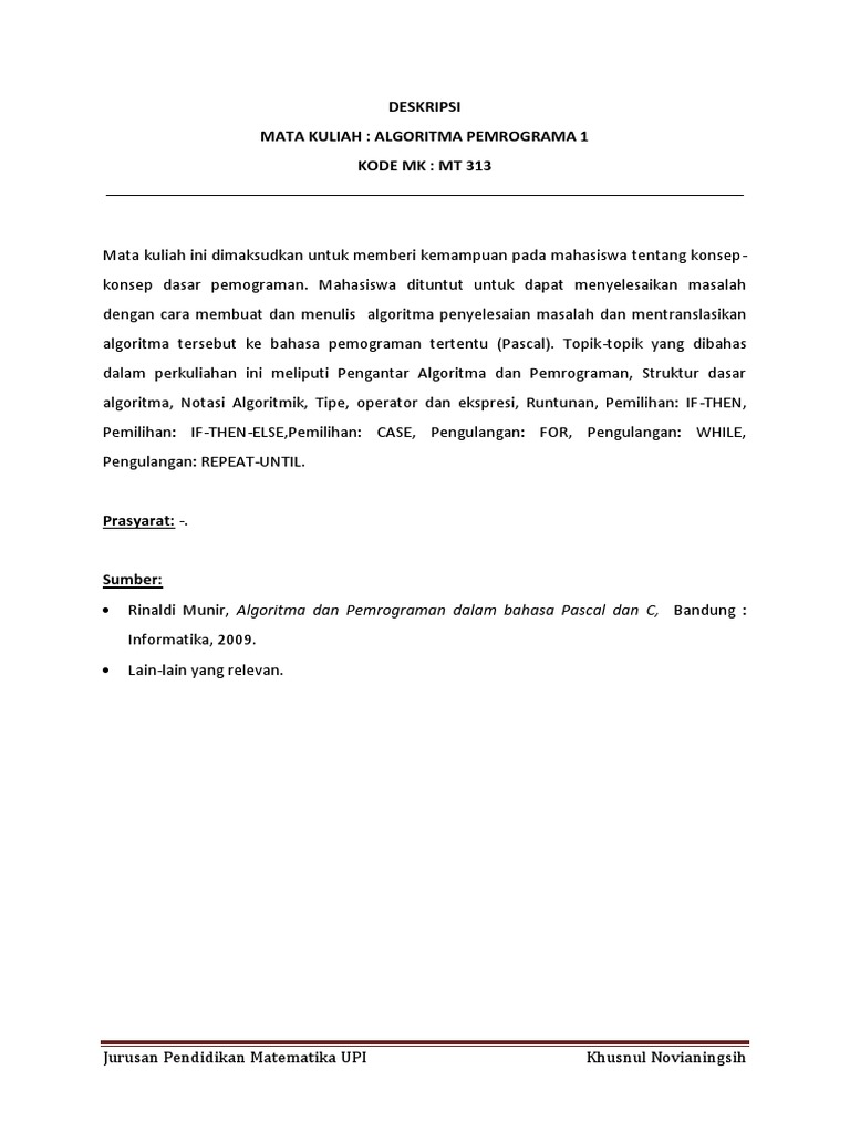 Rinaldi Munir Algoritma Dan Pemrograman Pdf