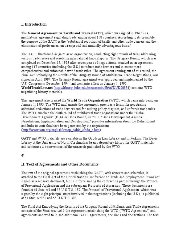 Gatt Uruguay Round World Trade Organization