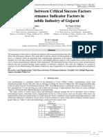 Relationship between Critical Success Factors and Performance Indicator Factors in Automobile Industry of Gujarat