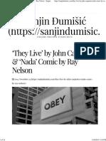 'They Live' by John Carpenter & 'Nada' Comic by Ray Nelson – Sanjin Ðumišic
