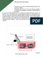 Solar Operated Crane System