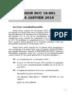 Décision Dcc 18-001 du 18 janvier 2018 de  la Cour constitutionnelle sur le retrait du droit de grève