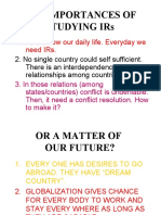Introduction to International Relations - The Importances of Studying Irs