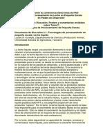 Informe Sobre La Conferencia Electrónica de FAO