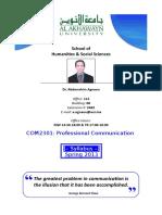 COM2301 ProfessionalCom Agnaou Spring 2013 Tentati
