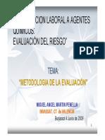 Exposición Laboral a Agentes Químicos. Metodología de La Evaluación