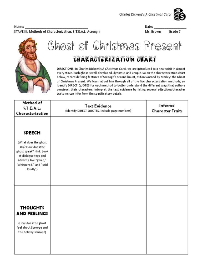 Christmas Carol Stave 3 Characterization Chart Christmas Present Pdf