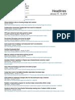CCA Headlines January 15 - 19 , 2018