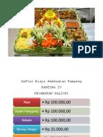 Daftar Biaya Pembuatan Tumpeng