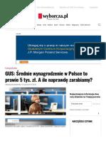 GUS_ Średnie Wynagrodzenie w Polsce to Prawie 5 Tys. Zł