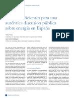Bases insuficientes para una auténtica discusión pública sobre energía en España