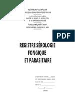 Page de Garde-registre Sérologie Fongique Et Parasitaire
