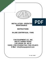 In Line Centrifugal Fan IOM