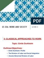 durkheim division of labor in society summary