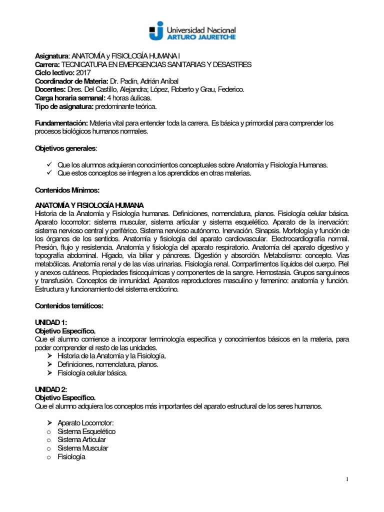 Anatomía y Fisiología Humana I