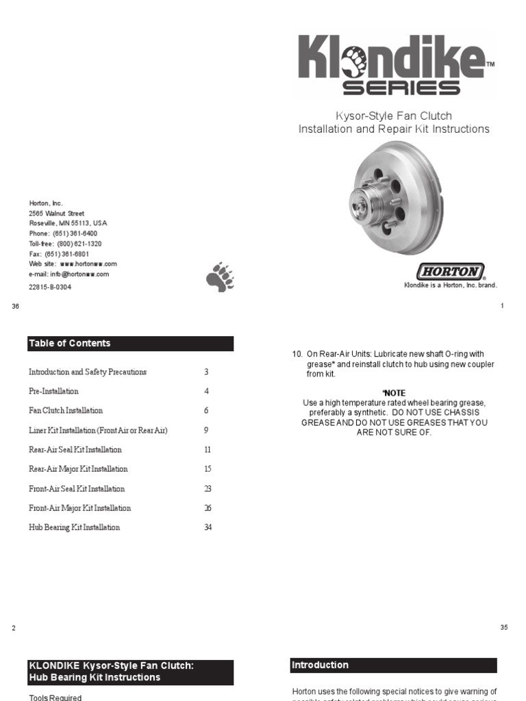Horton Klondike k26 Installation and Repair Kit Instructions