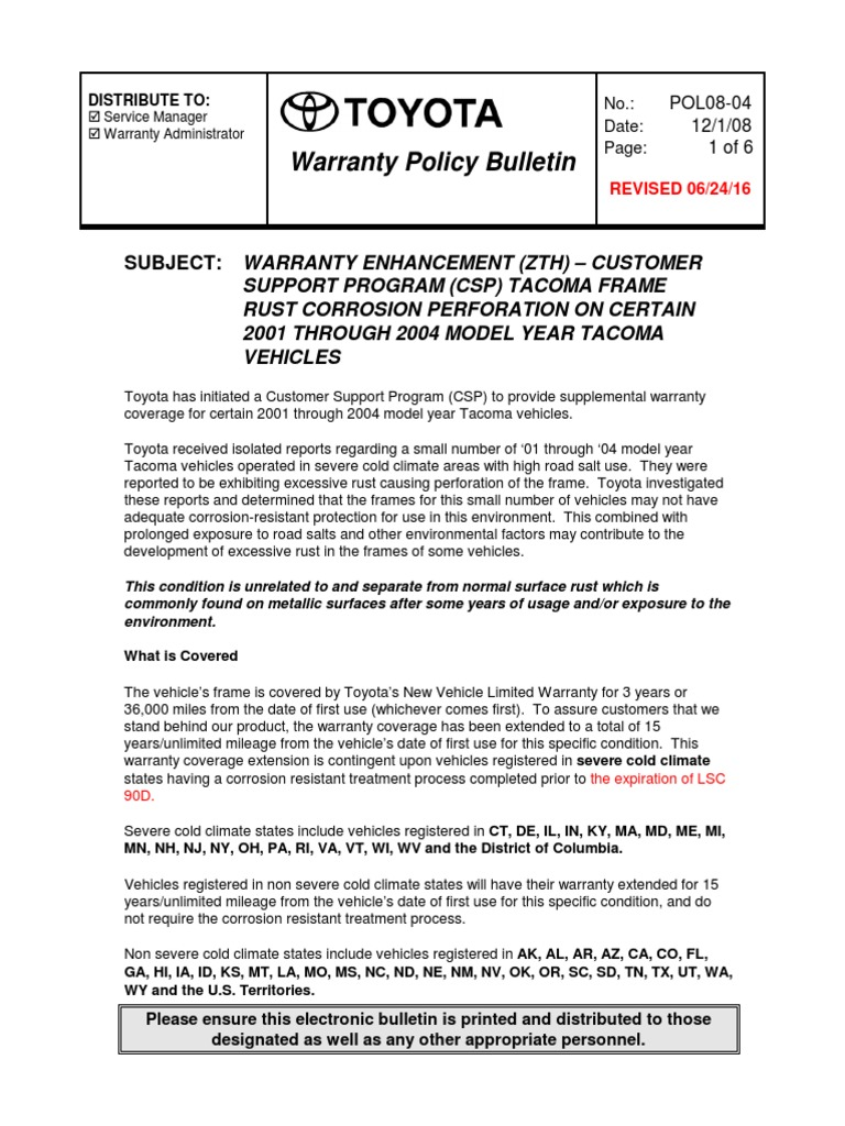 Tacoma Enhanced Warranty | Corrosion | Manufacturing And Engineering