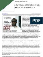Massacre des chrétiens 16 février 1992 _ Honoré NGBANDA « Criminel », « Assassin » !