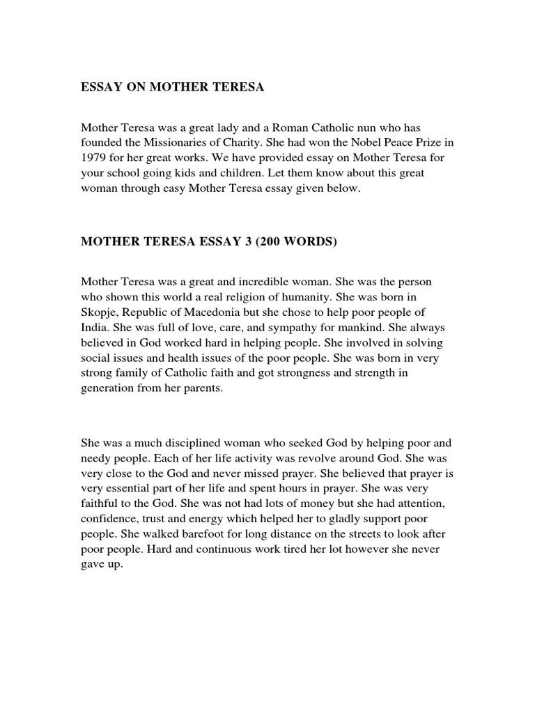 essay on mother teresa for kids