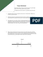 Worksheet Torque Revised 2013 w Key