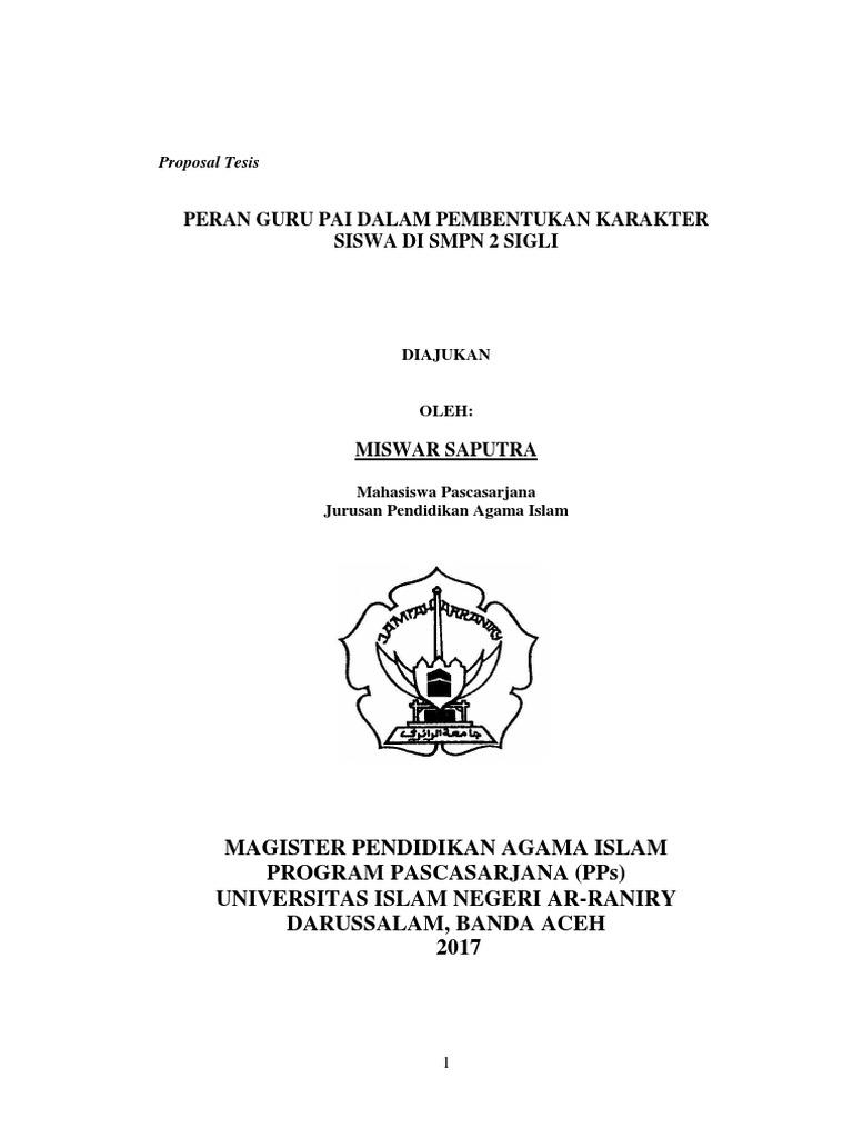 Contoh Proposal Tesis Pendidikan Agama Islam Pdf Temukan Contoh