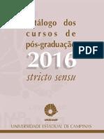 Catálogo Dos Cursos de Pós-graduação Da FE UNICAMP