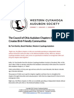 The Council of Ohio Audubon Chapters (COAC) Creates Bird-Friendly Communities by Tom Romito