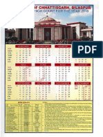 Chhattisgarh High Court Calendar,2018