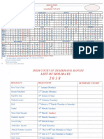 Jharkhand High Court Calendar,2018