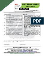 NEET II 2016 Paper With Solution Code BB QQ XX