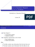 Operations Research - Transportation Problems