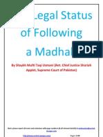 Legal Status of following a Madhab