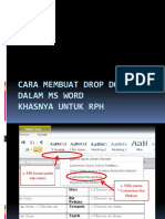 Cara Membuat Drop Down Menu MS word