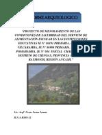 Proyecto de Mejoramiento de Las Condiciones de Salubridad Del Servicio de Alimentación Escolar en Las Instituciones Educativas Ie n