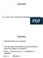Derivates From Calculus
