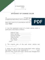 Affidavit for Change Color of Motor Vehicle