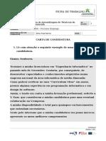 Ficha de Trabalho - Carta de Candidatura